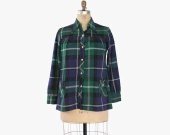 Vintage 60s MATERNITY TOP / 1960s Blue & Green PLAID Loose Fit Smock Top Blouse