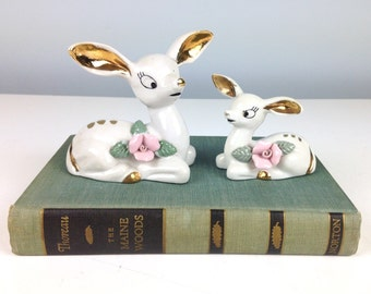 Vintage Ceramic Deer Figurines, Made in Thames Hand Painted Japan, Woodland Creature, Cute Deer Glass Animal with Sculpted Roses