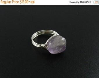ON SALE Amethyst Ring, Raw Crystal Ring, Amethyst Jewelry, Amethyst Crystal Ring