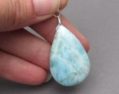 Huge Larimar Pendant, Sterling Silver Wire Wrapped Larimar Briolette, Larimar Necklace Pendant, Larimar Jewelry with Jump Ring Stone 28