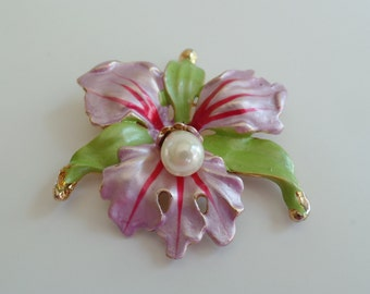Vintage Lavender and Pearl Orchid Brooch, Vintage Flower Brooch, Flower Pin, Fashion Jewelry, Vintage Jewelry, Orchid Brooch