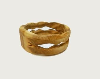 Bangle Bracelet Wood Cedar Hand Crafted Scroll Saw Medium
