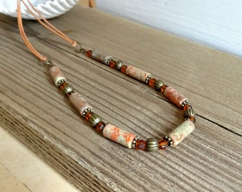 Jasper Gemstone Necklace, Leather and Autumn Jasper, Fall Inspired Long Beaded Necklace