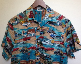Vintage classic cars Woody shirt, Americana cars, antique automobile, 1950s style, diner print, route 56, woody beach print, men XL 48 chest
