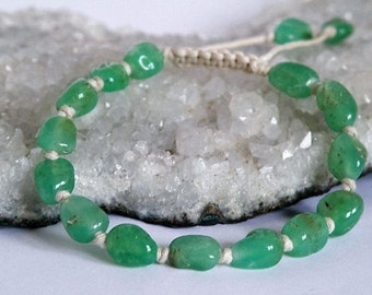 Green Chrysoprase bracelet - Beaded - light sand colored pure cotton cord - natural gemstones - Tribal - pull out - Tibetan style jewelry