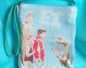 E.T. the movie vintage style upcycled tote bag purse polka dot lined
