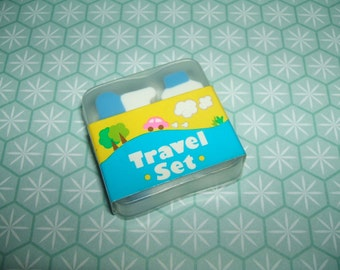 Vintage 1980s Hinodewashi Travel Set erasers rubbers - Excellent Vintage Condition