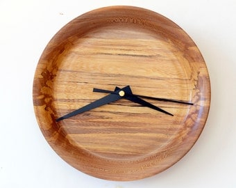 Wood Wall Clock, Turned Wood Clock, Spalted American Elm Wall Clock