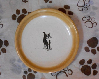 Black and White Cat - Plate in Tan (Small)