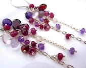 Beautiful Berry Gem Cascade Earrings.Rhodolite Garnet, Ruby, Amethyst, Pink Amethyst, Garnet Chain Chandelier Earrings. January Birthstone.