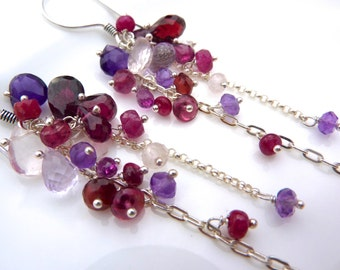 Beautiful Berry Gem Cascade Earrings.Rhodolite Garnet, Ruby, Amethyst, Pink Amethyst, Garnet Chain Chandelier Earrings. January Birthstone.