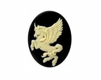 pegasus mythological 25x18mm resin unicorn cameo creme on black cabochon fantasy horse jewelry findings Cameo jewelry supply 900x