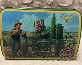 20% OFF SALE Vintage John Deere Tractor Farm Machinery Tin Comtainer Americana Advertising