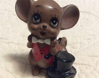 Vintage Josef Originals Wedding Mouse Figurine with tag Named Groom Japan 1960s Doctor Brown Anthropomorphic