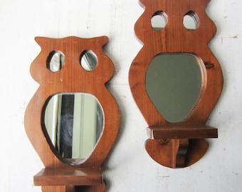 Pair Boho Owl Wall Mirror Display Shelves - Bohemian Home Decor - Plant Shelf - Plant Holder