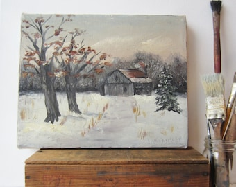 Vintage Signed Oil Painting - Winter Barn Country Landscape