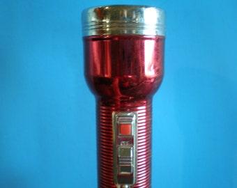 Vintage Mid Century Industrial Metal Red Flashlight