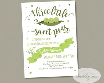 Three Little Sweet Peas Baby Shower Invitation | Triplets Baby Shower Invitation | Sweet Peas, Peas in a Pod | INSTANT DOWNLOAD