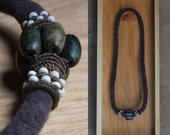 Primal Vine - Peruvian Jade & Antique Glass Beads on a Merino Rope -  Simple and Strong