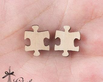 4Pcs DIY Laser Cut Wood Cute  Puzzle Charms / Pendants  (WP-C-1)