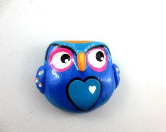 Blue Owl - Wearable Art Pin