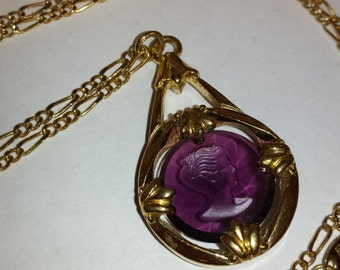 Vintage Avon Purple Glass Cameo