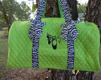 Personalized Duffle Bag-LIME GREEN and ZEBRA  Dance Bag  Ballet Bag Overnight Bag
