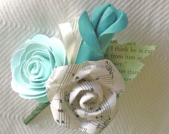 aqua teal sheet music boutonniere buttonhole lapel pin corsage brooch for weddings groom