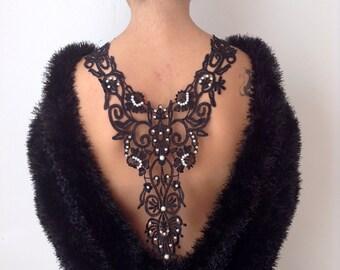back neckline necklace, sexy,custom design, black guipure necklace, handicrafts,party necklace, gift, wedding accessory,