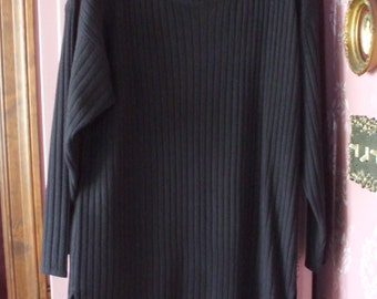 Metropolitan New York 10001 Oversized Sweater Small S Black Ribbed Legging Tunic Vintage Mid 1990's