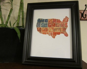 Postage Stamp Art - United States - Used Postage Stamps - Framed Postage Stamp Art - Wall Art - USA Art