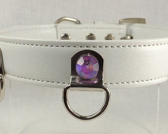 Slave Collar White Leather Purple Rhinestones mature BDSM Collar 3 d ring submissive collar bondage o ring collar