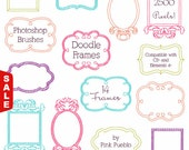 Sale! Doodle Frames Photoshop Brushes, Doodle Borders Photoshop Brushes - Commercial and Personal Use