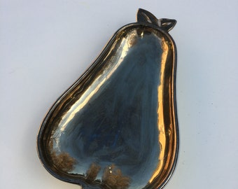 Carnival glass silver pear iridescent blossom vintage