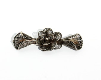 Cali Lily Brooch- Art Deco Pin- 1920s Fashion- Filigree Brooch- Floral Brooch- Bar Brooch- Art Noueau Pin- Flower Brooch- Spun Metal Jewelry