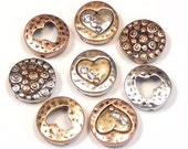 Eight 2 Hole Slider Beads Multi Design Round Hammered Look Petite Clear Crystal Hearts Antiqued Tri Color Mixed Metal Heart Bead Love Beads