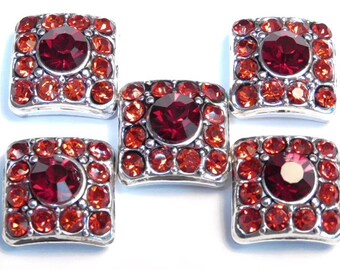 Five 2 Hole Slider Beads 2 Hole Spacer Beads Antiqued Silver Plated Square Siam Red & Lt. Siam Red Crystal Studded Double Hole Crystal Beads