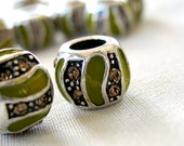 Olive Green Enamel  with Silver and Champagne Brown Rhinestones beads, 10mm x 8mm, hole 5mm, pkg of 5