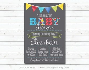 Boy Baby Shower Invitation, Printable Baby Shower Invitation, Pennant Banner, Pattern Stars Polka Dots, Party Invitation 5x7 or 4x6