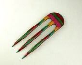 Reserved for Kristina 2  Prong Hair Fork made from Piñata DymondWood-  Very durable. Water resistant.