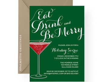 PRINTABLE - Eat Drink Be Merry Christmas Holiday Party Invitation Martini Glass, Holiday, Christmas Eve, Happy Hour Holiday Soiree