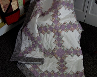 Double Irish Chain Throw Quilt, Purple and Pale Green, Hand Quilted