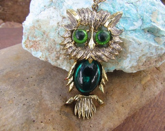 Vintage Owl Necklace, Gold Tone, Double Chain, Jewelry, Pendant, Bird Lover, Emerald Green, Retro, Women, Unique, Animal, Wise Old Owl, Gift