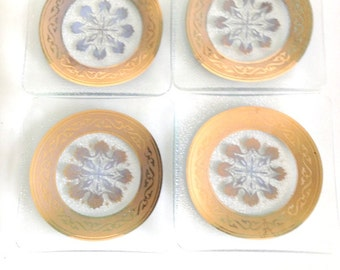 Mid-Century Gold Textured Glass Coasters