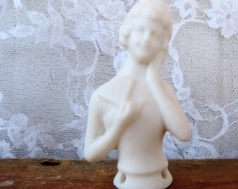 Porcelain Half Doll Lady Bisque Greenware Handmade Antique Reproduction Halfdoll Ready to Paint Handmade by Vintage Polka Dot Com