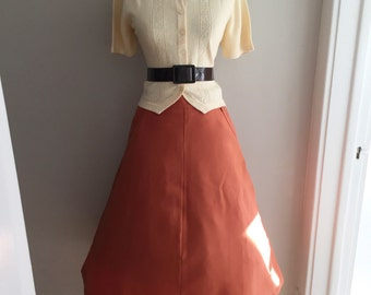 Vintage 1960s Pumpkin Burnt Orange A-line Festival BoHo Retro Fall Skirt