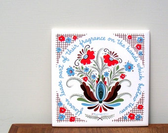 Vintage Berggren Originals Tile Trivet Scandinavian Folk Art Design