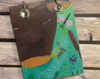 Recycled Notebook - Small Refillable Notepad - Upcycled Children's Book - Cow, Dragonfly
