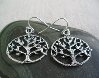 Silver Tree Earrings - Tree of Life Jewelry - Simple Everyday Silver Earrings - Tree of Life Earrings