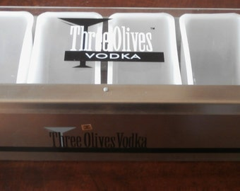 Three Olives Vodka Condiment Tray Holder Home Bar Man Cave